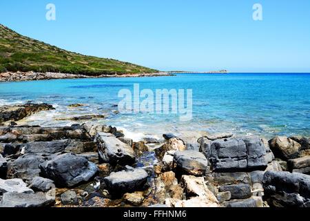 The beach on uninhabited island, Crete, Greece - Stock Photo