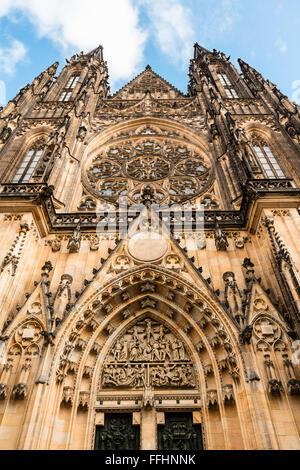 Medieval St. Vitus Cathedral is Prague Castle main entrance detail. - Stock Photo