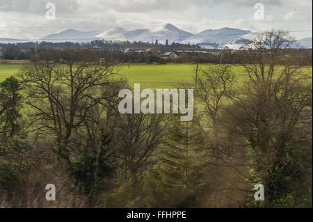 Edinburgh UK. 14th Feb, 2016;  Views from the Borders Railway from Edinburgh to Tweedbank showing the snow.  Credit: - Stock Photo