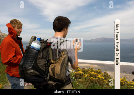 Way of St. James, Jacobean Route. Finis Terrae, Fisterre, Finisterre, A Coruña. A sign written in multiple languages - Stock Photo