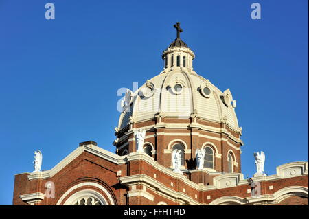 St. Mary of the Angels Catholic Church in Chicago. The historic church sits in Chicago's Bucktown neighborhood. - Stock Photo