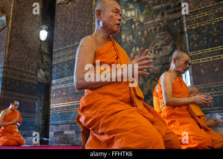 Buddhist Shrine Temple, Praying and Ordination Hall at Wat Pho, Bangkok, Thailand. Wat Pho (the Temple of the Reclining - Stock Photo