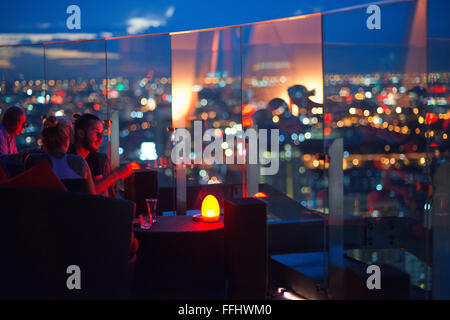 Red Sky Restaurant Rooftop. Bangkok. Thailand. On the top floor of the Centara Grand skyscraper in the city centre. - Stock Photo