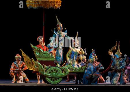 Thai classical dance performance at Salachalermkrung theater in Bangkok, Thailand. Khon-Thai Classical Masked Dance - Stock Photo