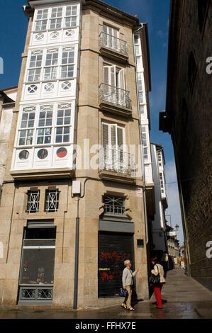 Way of St. James, Jacobean Route. Old town of Santiago de Compostela. St. James's Way, St. James's Path, St. James's - Stock Photo