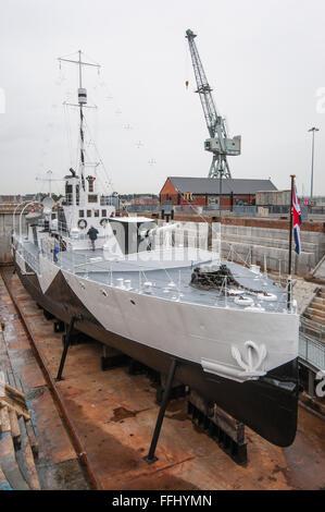 HMS M33 at Portsmouth Historic Dockyard. - Stock Photo