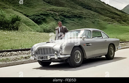 Still from 'Goldfinger' directed by Guy Hamilton and released in 1964 showing Sean Connery as James Bond with the - Stock Photo