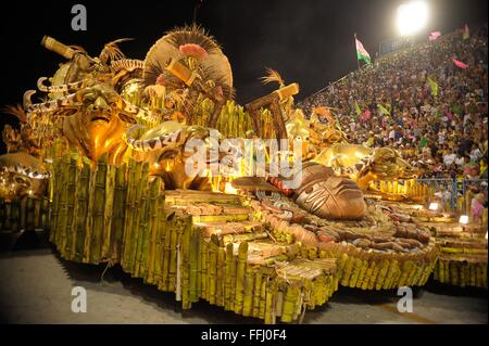 Samba floats in the Sambadrome during the parade of champions following Rio Carnival February 13, 2016 in Rio de - Stock Photo