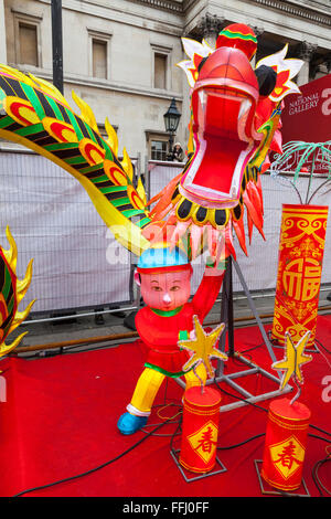 London, UK. 14th Feb 2016.  Colourful Chinese decorations on Trafalgar Square as part of the Chinese New Year Celebrations. - Stock Photo