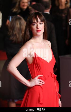 London, UK. 14th February, 2016. Actress Dakota Johnson ( EE rising Award nominee) attends the EE British Academy - Stock Photo