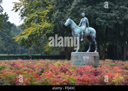 1895 bronze statue 'Amazon on Horseback' by Louis Tuaillon in Tiergarten Park in Berlin Germany. - Stock Photo
