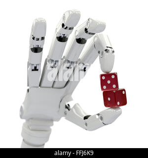 Two red dices in robot hand isolated on white, focus on foreground - Stock Photo