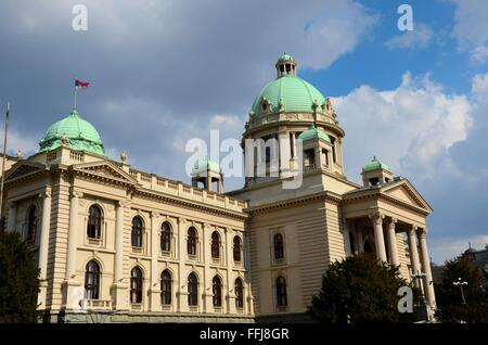 National Assembly building with domes Belgrade Serbia Former Republic of Yugoslavia - Stock Photo