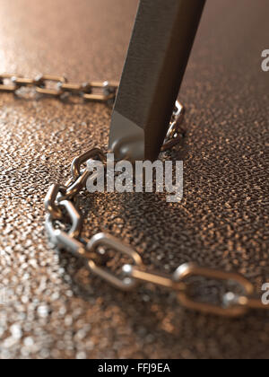 Breaking chains by chisel concept - Stock Photo