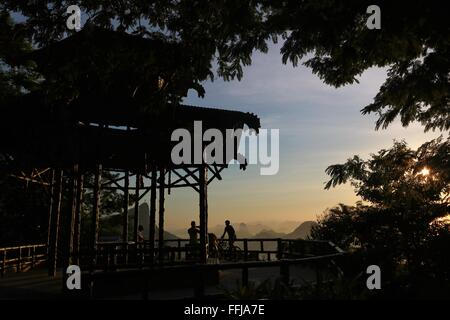 Rio de Janeiro, Brazil, 14th February. People enjoy the sunrise at Vista Chinesa (Chinese Belvedere) in Tijuca Forest - Stock Photo