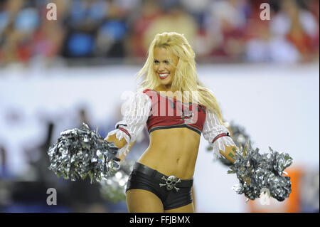 Tampa, FL, USA. 24th Oct, 2013. Tampa Bay Buccaneers cheerleaders perform during the Bucs 21-6 loss to the Carolina - Stock Photo