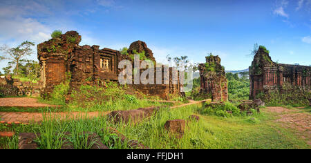 My Son is a set of temple ruins from the ancient Cham Empire in the central coast of Vietnam.It is a UNESCO World - Stock Photo
