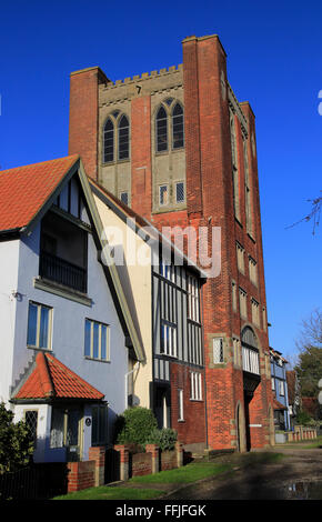 Eccentric mock Tudor architecture of water tower and houses, Thorpeness, Suffolk, England, UK - Stock Photo