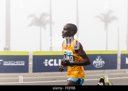 Los Angeles, California, USA. 14th February, 2016. Daniel Limo from Kenya takes the third place in men categorie - Stock Photo