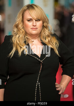London, UK. 14th February, 2016. Rebel Wilson arrives at the EE British Academy Film Awards, BAFTA Awards, at the - Stock Photo