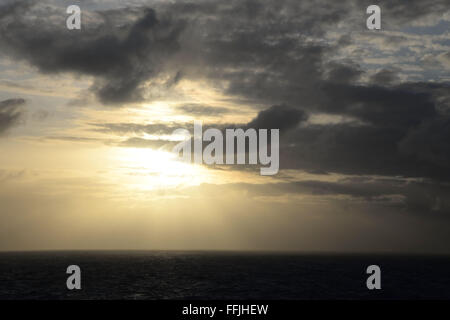 Early morning sky in the South Pacific Ocean 2000 miles from Tahiti, - Stock Photo