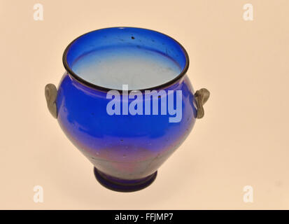 Beautiful Ancient Roman Vase In Blue Glass With Two Small Handles