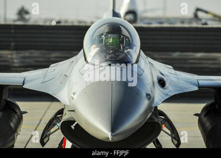 U.S. Air Force pilot Lt. Col. Thomas Wolfe performs preflight checks on an F-16 Fighting Falcon aircraft as he prepares - Stock Photo