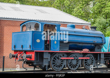 Historical Train on display at the Havenstreet Station of the Isle of Wight Steam Railway Line, South East England - Stock Photo