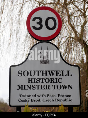 Village name sign for Southwell, Nottinghamshire, England, UK - Stock Photo