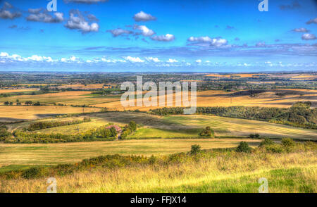 English countryside view from Ivinghoe Beacon Chiltern Hills Bucks England UK between Dunstable Bedfordshire - Stock Photo
