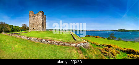 Audleys Castle County Down Northern Ireland 15th Century Tower House Historic Monument near Strangford Lough Ireland - Stock Photo