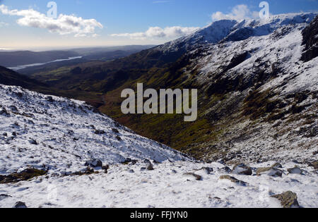Looking South Down the Copper Mines Valley and Red Dell Beck from the Slopes of Wetherlam with Coniston Old Man - Stock Photo