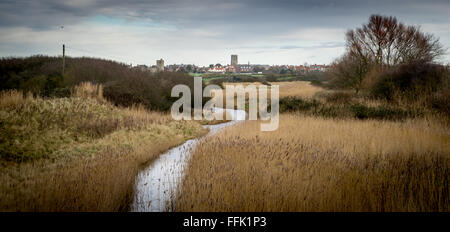 The town of Southwold, Suffolk, UK, seen from Southwold Harbour in winter 2016 - Stock Photo