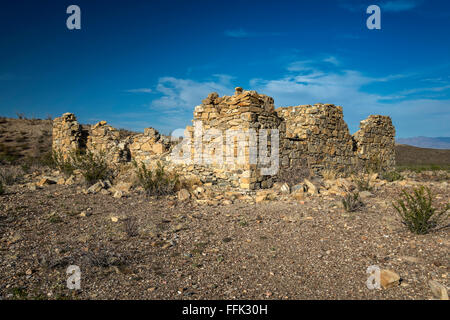 Ruins at Terlingua Abaja ghost town, Chihuahuan Desert, Big Bend National Park, Texas, USA - Stock Photo