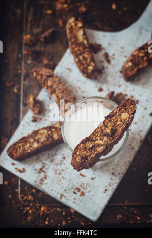 Homemade biscotti, high in fiber, with whole wheat flour, walnuts, dried plums and mixed seeds. Crispy and crumbly, - Stock Photo