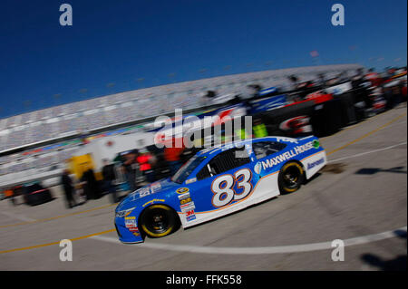 Daytona Beach, FL, USA. 13th Feb, 2016. Daytona Beach, FL - Feb 13, 2016: Michael Waltrip (83) exits the garage - Stock Photo
