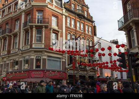Chinese New Year celebrations in Chinatown, London - Stock Photo