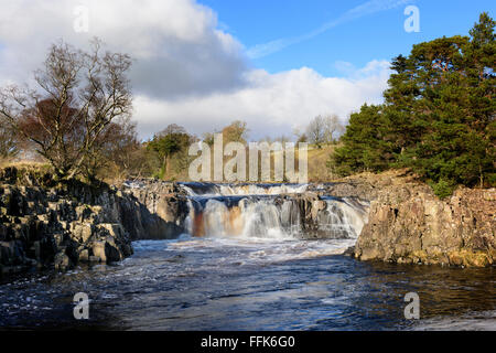 Low Force Waterfall River Tees Teesdale - Stock Photo
