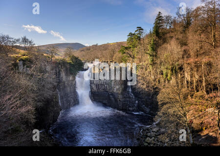 High Force waterfall on the river Tees in Teesdale - Stock Photo