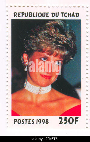 A stamp printed in Chad shows image of the Diana, Princess of Wales (1 July 1961 - 31 August 1997), was the first - Stock Photo