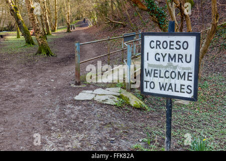 The English/Welsh border on Offa's Dyke, near Knighton, Powys, Wales - Stock Photo