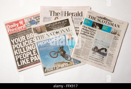 A selection of some of the Scottish Newspapers,including The Scotsman,The Daily Record,The Herald and The National - Stock Photo