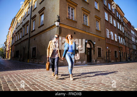Mid adult couple on a city break in Warsaw - Stock Photo