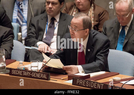 New York, United States. 15th Feb, 2016. UN Secretary-General Ban Ki-moon attends and offers comments at the Security - Stock Photo