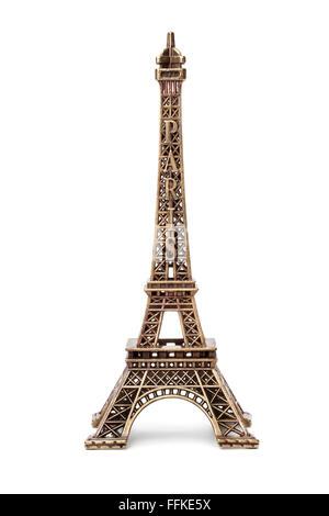 Miniature Eiffel tower souvenir on white background - Stock Photo