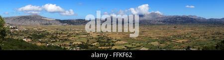Panorama of Lassithi Plateau, Island Crete, Greece - Stock Photo