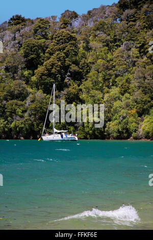 Sailboat and beach in the Marlborough Sounds near Picton, South Island, New Zealand - Stock Photo