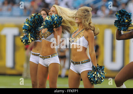 Jacksonville, FL, USA. 24th Aug, 2013. Jacksonville Jaguars cheerleaders during a preseason NFL game against the - Stock Photo