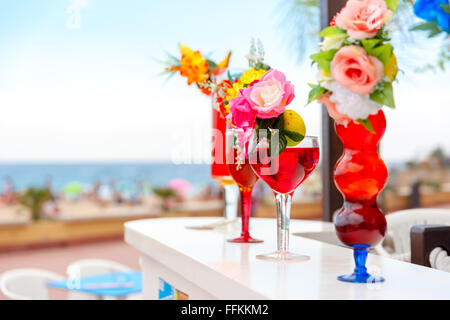 Glasses with cocktails at the resort - Stock Photo
