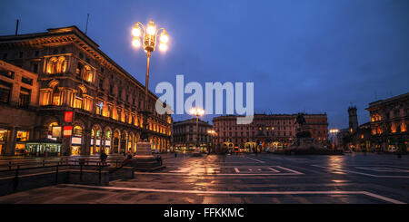 Milan, Italy: Piazza del Duomo, Cathedral Square in the sunrise - Stock Photo